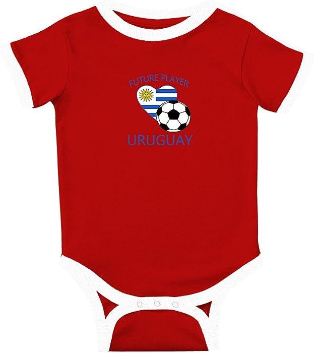 Amazon.com  Future Soccer Player Uruguay  1 Cotton Short Sleeve Crewneck  Unisex Baby Soccer Bodysuit Sports Jersey - Red 83e2f21ff