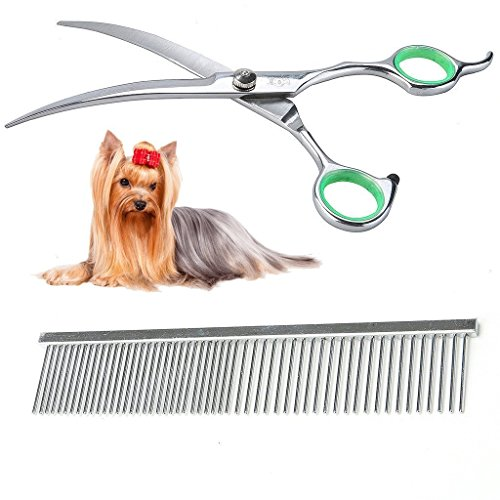 LovinPet Pet Grooming Scissors Professional Dog Cat Grooming Shears with Round Tip Stainless Steel Strong and Sharp Blade Heavy Duty Curved Tool Set with Comb