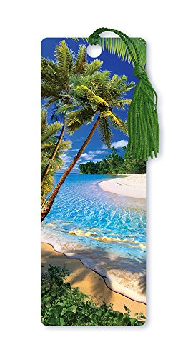 Dimension 9 3D Lenticular Bookmark with Tassel, Tropical Beach Scene Featuring Sand and Palm Trees -