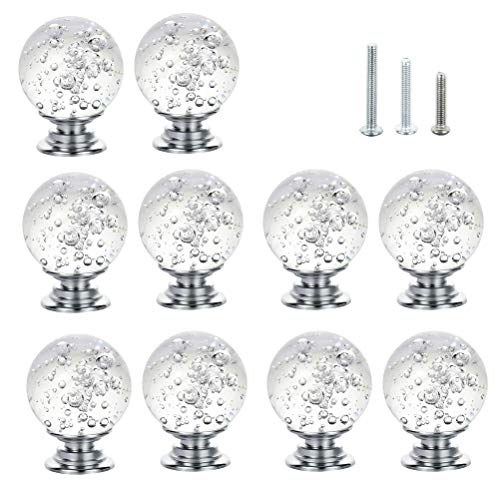 (IFOLAINA 10 Pcs Crystal Cabinet Knobs Round Glass Kitchen Cupboard Drawer Dresser Bookcase Pull Handle with 3 Size Screws)