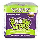 Boogie Wipes Soft Natural Saline Wet Tissues for Baby and Kids Sensitive Nose, Hand, and Face with Moisturing Aloe, Chamomile, and Vitamin E, Grape Scent, 45 Count (Pack of 2)