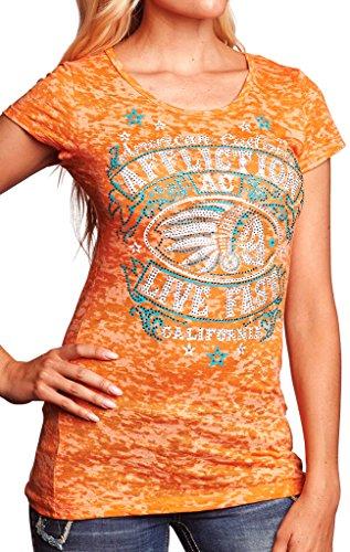 Affliction Women's AC Spanish Fly Cap Sleeve 50/50 Tee Orange Burnout T-Shirt SM -