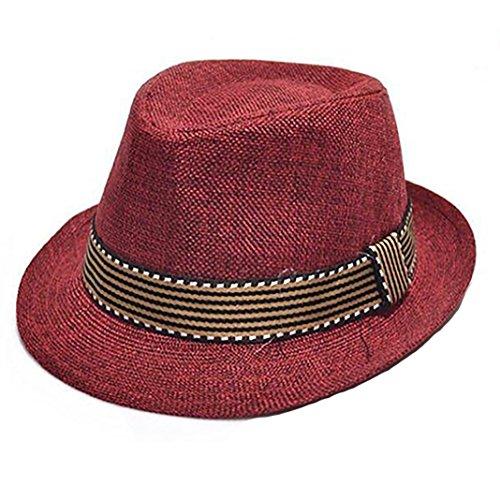 potato001 Unisex Kids' Cotton Jazz Pitched Crown Short Brim Hat Cap Fedora Hat - (Crown Fedora Hat)