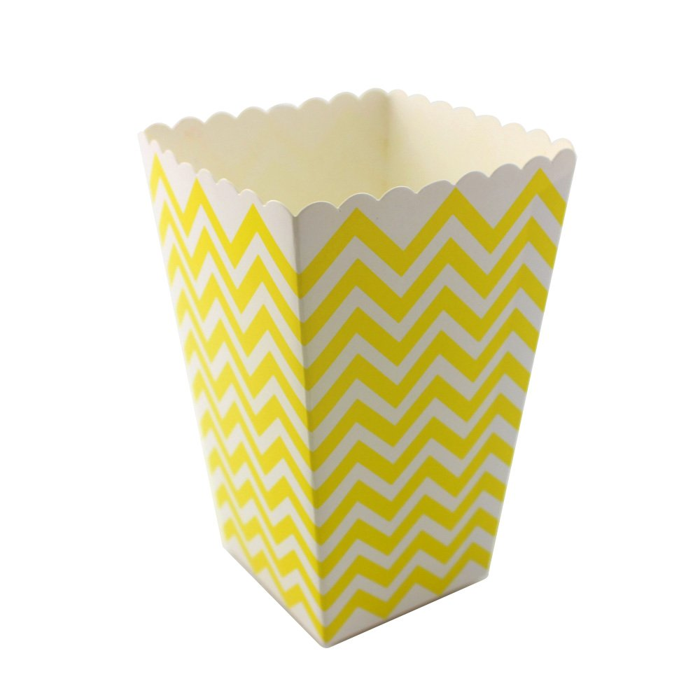 IPALMAY 36 PCS Mini Paper Popcorn Boxes - Treat Boxes - Gift Boxes - Candy Boxes, Family Movie Night Boxes, Black and White Chevron