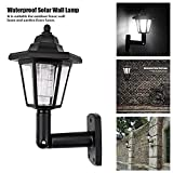 Onefa Solar Power LED Light Path Way Wall Landscape Mount Garden Fence Lamp Outdoor (Black)