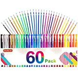 Gel Pens, 60 Pack Gel Pen Set 30 Colored Gel Pen with 30 Refills for Adults Coloring Books Drawing Doodling Crafts Scrapbooking Bullet Journaling