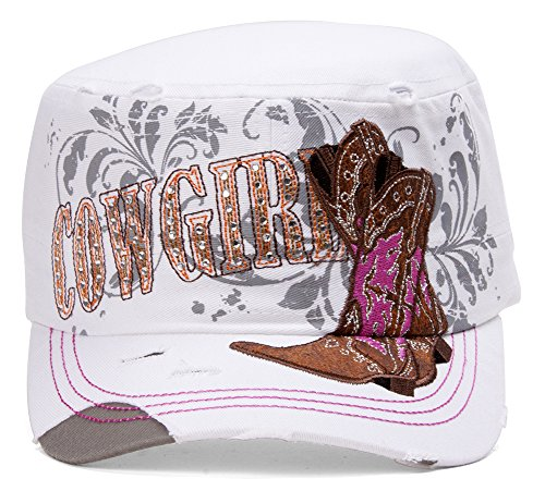HLC TopHeadwear Cowgirl Boots Distressed Cadet Cap - White ()