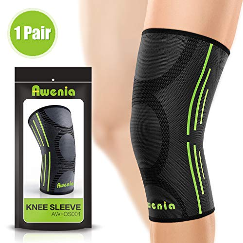 3bb5614487 Awenia Knee Braces Support Compression Sleeves 1 Pair for Running Arthritis  ACL Meniscus Tear Joint Pain