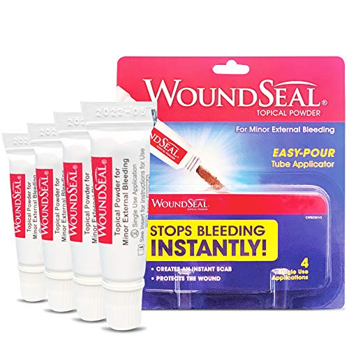 WoundSeal Topical Powder Wound Care First Aid for Cuts, Scrapes and Abrasions Single Use, 4 count (Packaging May Vary)