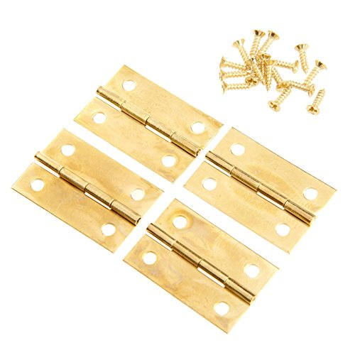 Gold Box Hinge - Dophee 4Pcs Gold 34x22mm Mini Hinges Jewellery Box Dolls House Decorative Cupboard Hinges with Screws