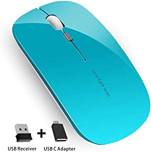 Q5 Slim Rechargeable Wireless Mouse, 2.4G Optical Silent Ultra Thin Wireless Computer Mouse with USB Receiver and Type C Adapter, Compatible with PC, Laptop, Desktop (Blue)