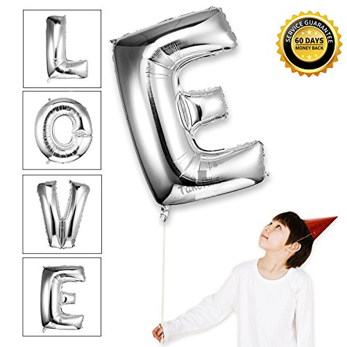 Wedding Old Style Wrappers (Takefubs 40 Inch Giant Jumbo Helium Foil Mylar Balloons Single Silver Alphabet Aluminum Hang Letter Balloons For Birthday Party Decorations,Glossy Silver,Letter E)