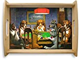 Dogs Playing Poker 1903 C.M.Coolidge Natural Wooden Tray - Large