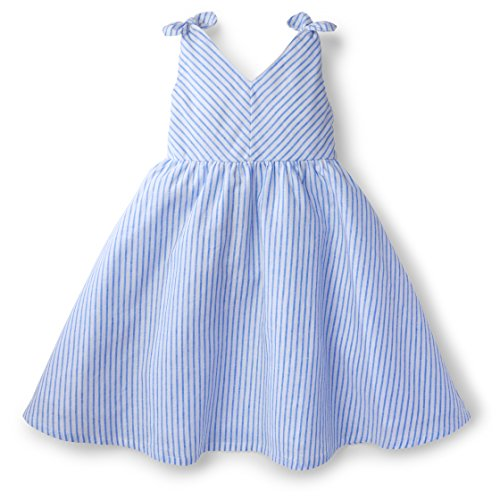 Hope & Henry Girls White Bow Shoulder Dress Made With Organic Cotton