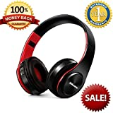 Bluetooth Headphones Foldable Bass Over Ear Bluetooth Headphones Workout with MIC Bluetooth Headphones SD Card Noise Cancelling Wireless Wired Dual Mode Headphones Black Red