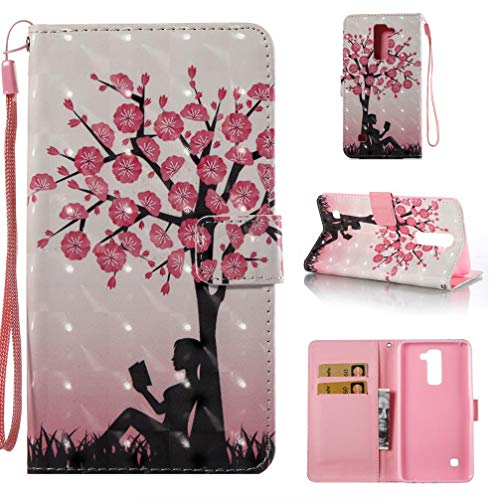 Case for LG Stylo 2/LS775,Pu Leather Anti Sliding with Inner Soft Bumper Credit Card Holder Slim Flip Folio Kickstand Case with Magnetic Closure Wrist Strap. Compatible with LG Stylo 2/LS775 -Tree ()