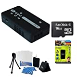 AAXA KP500-02 P4X Pocket Size Pico Projector, Li-Ion Battery, 15000 Hour LED Projector and Media Player + 16GB Micro SDHC Memory Card, Multi Card Reader Writer + Accessory Kit