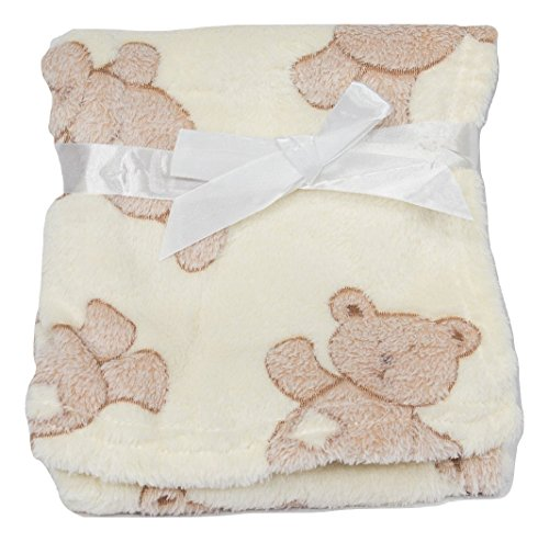 Light & Cozy Plush Blanket For Baby Boys and Baby Girls (Teddy Bear) (Bear Baby Plush Shower)