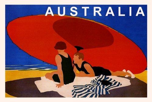 AUSTRALIA SUMMER COUPLE ON THE BEACH BIG RED UMBRELLA OCEAN