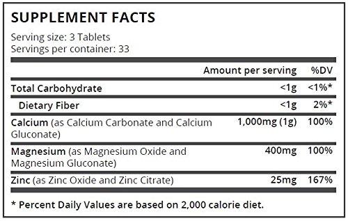 Pure Science Calcio 1000 mg Magnesio 400 mg Zinc 25 mg - 1425 mg con 5 mg BioPerine (potenciador de la biodisponibilidad natural para una mejor absorción) ...