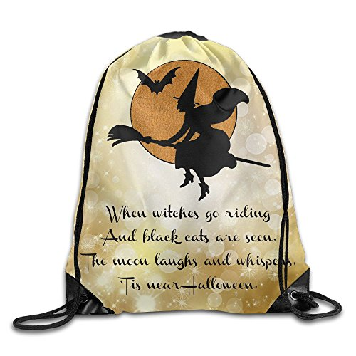 BHSGD8U Witches Go Riding Happy Halloween Nylon Drawstring Shoulder Bags For Kids (Trade Show Costume Jewelry)