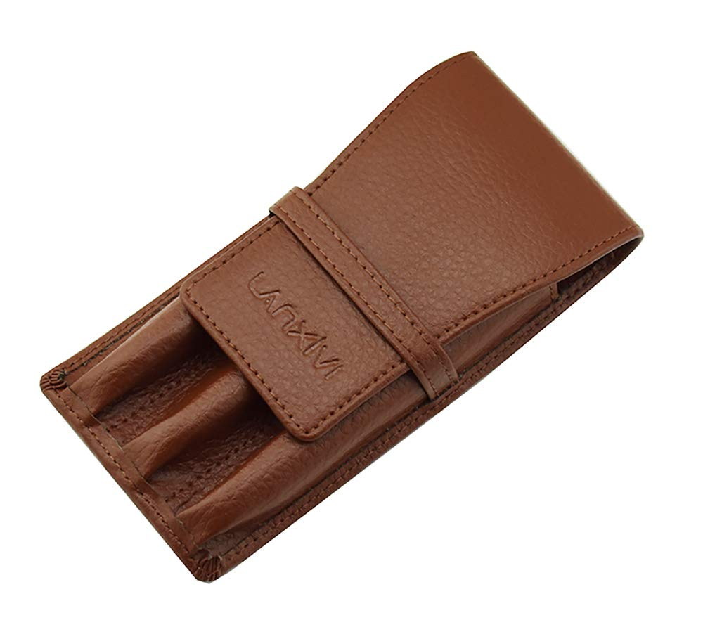 Coffee Leather Fountain Pen Case Pouch 3 Separate Slot Pen Organizer Carrying Holder by Lanxivi