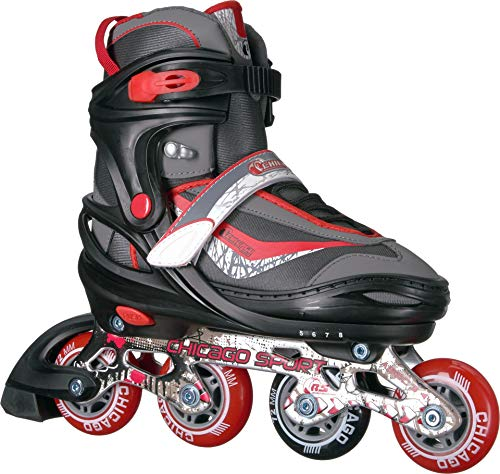 Chicago Adjustable Red Inline Skates - Youth Medium (Adjusts Sizes 1-4)