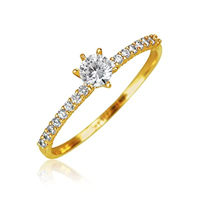 Solitaire redondos de Punta Delgada CZ zirconio cúbico de banda Promesa de matrimonio Anillo de Oro 14K de 1mm: Amazon.es: Joyería