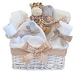 Mr Giraffe LUXURY Newborn Baby Gift Hamper⼁Baby Basket Gift⼁New Born Arrivals Hamper⼁Boy Girl Unisex Neutral⼁Hampers Gifts Baskets For Baby Shower⼁Maternity Leave Presents Set Boys Girls⼁FAST DISPATCH