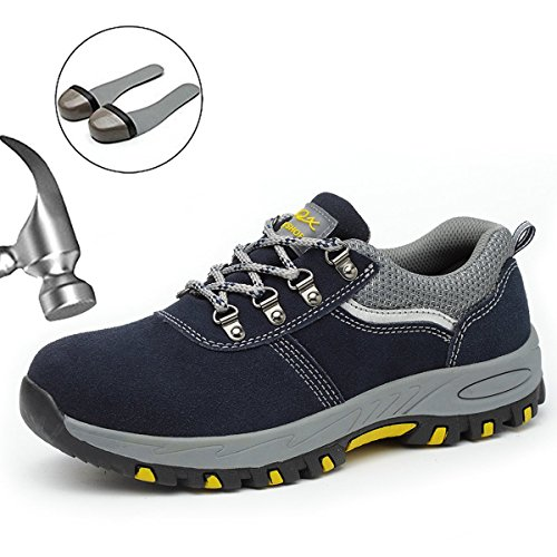 Steel Toe Work Safety Shoes for Men and Women, Industrial and Construction Sneakers Hiking Trekking Outdoor Trail Waterproof Composite Shoes-118 Blue ()