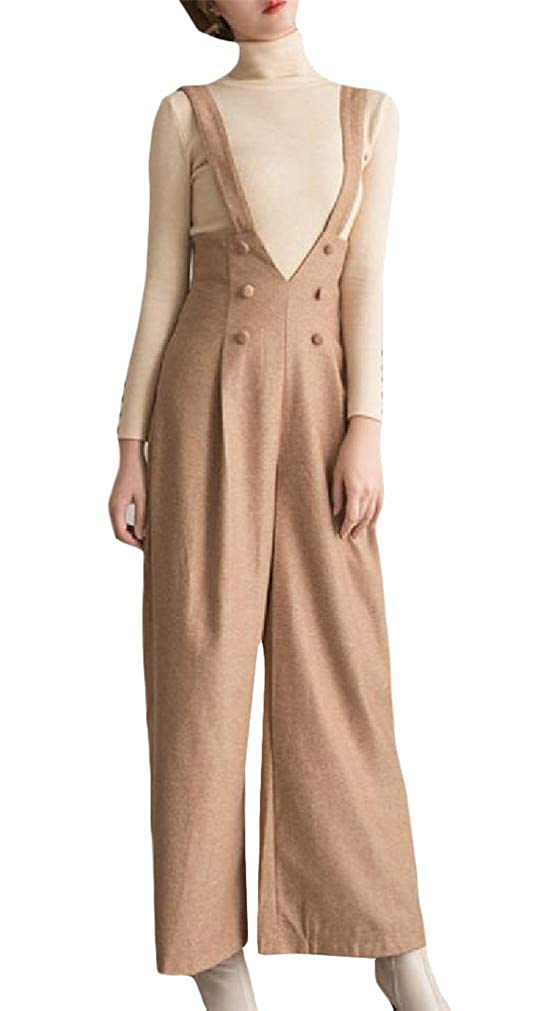 Cromoncent Womens Casual High Waist Padded Double-Breasted Wool-Blend Ankle Overalls