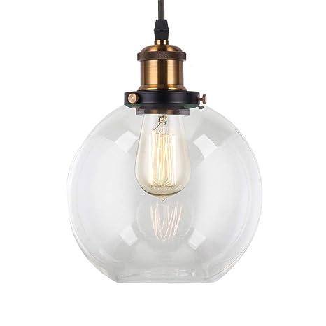 Lightingpro Industrial Globe Pendant Lighting With 8 Hand Blown Clear Glass Shape Modern Mini Glass Pendant Light Fixture For Kitchen Island Loft