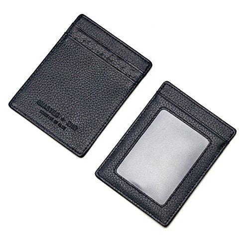 Ptatoms Slim Utral Thin 4 Card Slots Pocket Black Unisex Genuine Leather Id Wallet and Credit Card Holder Wallet(vertical Design)