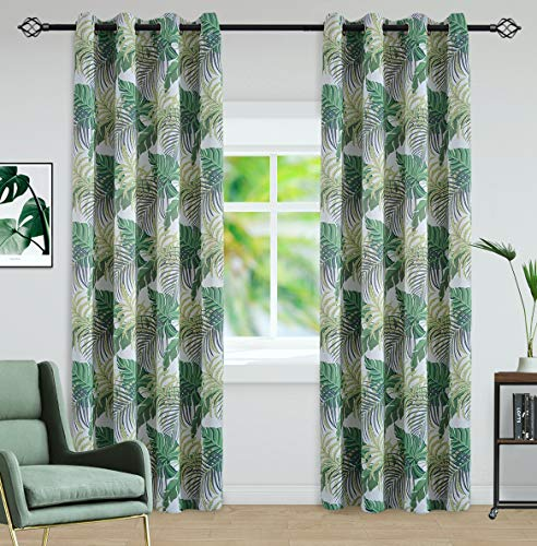 sgofais Printed Blackout Curtains Bedroom Greenery Floral Patterns - Grommet Thermal Insulated Room Darkening Vintage Curtains Living Room, 2 Panels (52 x 63 Inch, Green