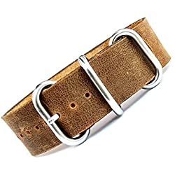 time+ 22mm 3-ring NATO ZULU Leather Military Watch Strap Vintage Brown