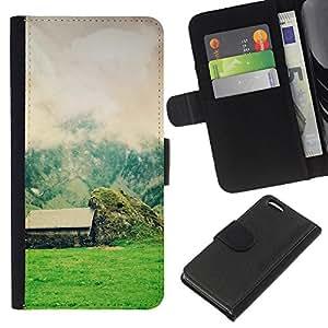EJOY---La carpeta del tirón la caja de cuero de alta calidad de la PU Caso protector / Apple Iphone 5C / --Naturaleza Hermosa Forrest Verde 58
