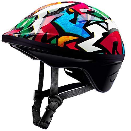 (OutdoorMaster Toddler Bike Helmet - Multi-sport Adjustable Helmet for Children (Age 3-5) , 14 Vents Safety & Fun Print Design for Kids Skating Cycling Scooter - Graffiti)