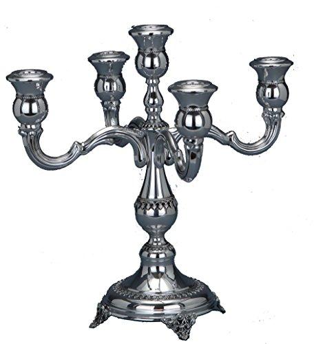 Hazorfim Filigree Short Candelabra 5 Branches Shabbat candelabra sterling silver judaica Israel Jerusalem Holy Land gift Sabbath candlesticks candles light (Sterling Silver 5 Light Candelabra)