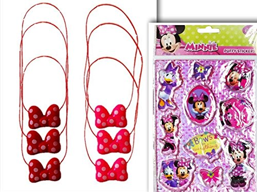 Fun & Adorable Party Favor Blinking Flashing & Light Up Minnie Bowtie Necklace for Children & Adults (6pcs) & Minnie Puffy Sticker Set for All Occassion- 3 Flashing (Costume Party Ideas For Adults)