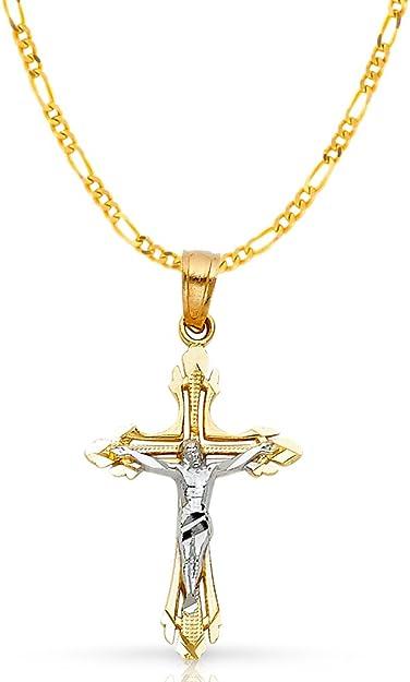 14K Two Tone Gold Jesus Crucifix Cross Pendant /& 2mm Figaro 3+1 Chain Necklace