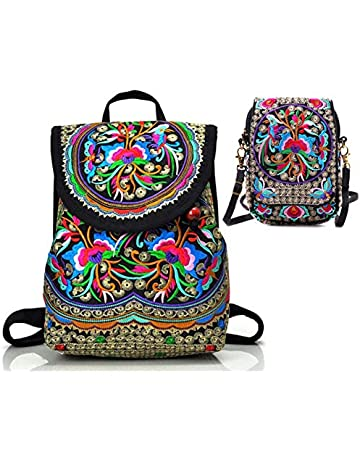 f544b975cfe2 Goodhan Vintage Women Embroidery Ethnic Backpack Travel Handbag Shoulder Bag  Mochila