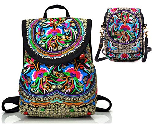 Goodhan Vintage Embroidered Women Backpack Ethnic Travel Handbag Shoulder Bag