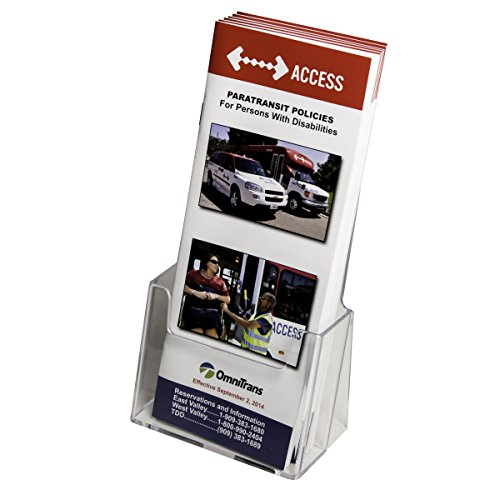 Acrylic Brochure Rack - Clear-Ad - Acrylic Trifold Brochure Holder - Rack Card Display - Pamphlet Stand - LHF-S100 (Pack of 10)