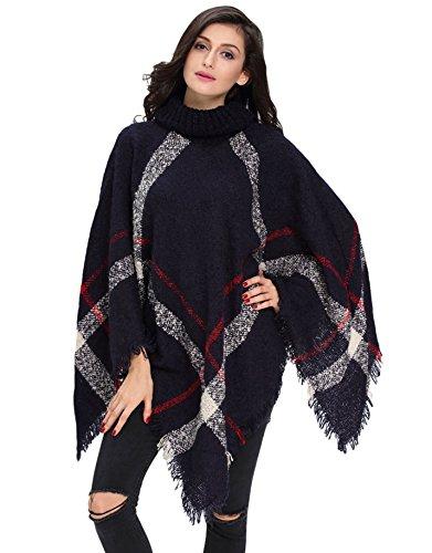 I VVEEL Women's Knitted Cashmere Turtleneck Poncho Wrap Sweater Cape,Black,Oneszie