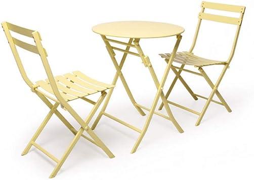 LJ Silla Mesa y silla de jardín plegables, muebles de jardín de metal para jardín con patio al aire libre, juego de mesa y 2 sillas,Amarillo: Amazon.es: Bricolaje y herramientas