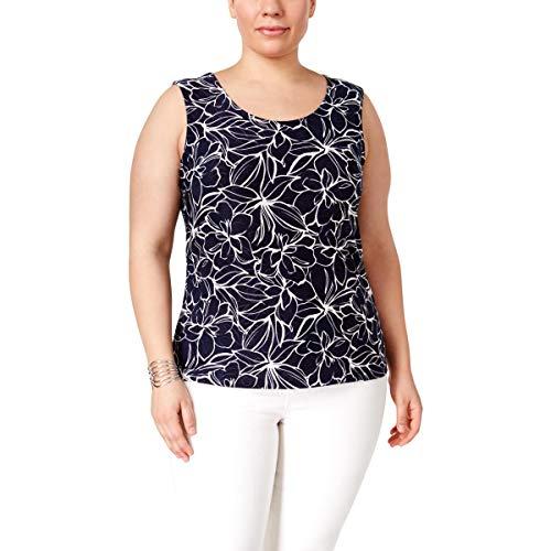 JM Collection Womens Plus Printed Sleeveless Tank Top Blue 1X