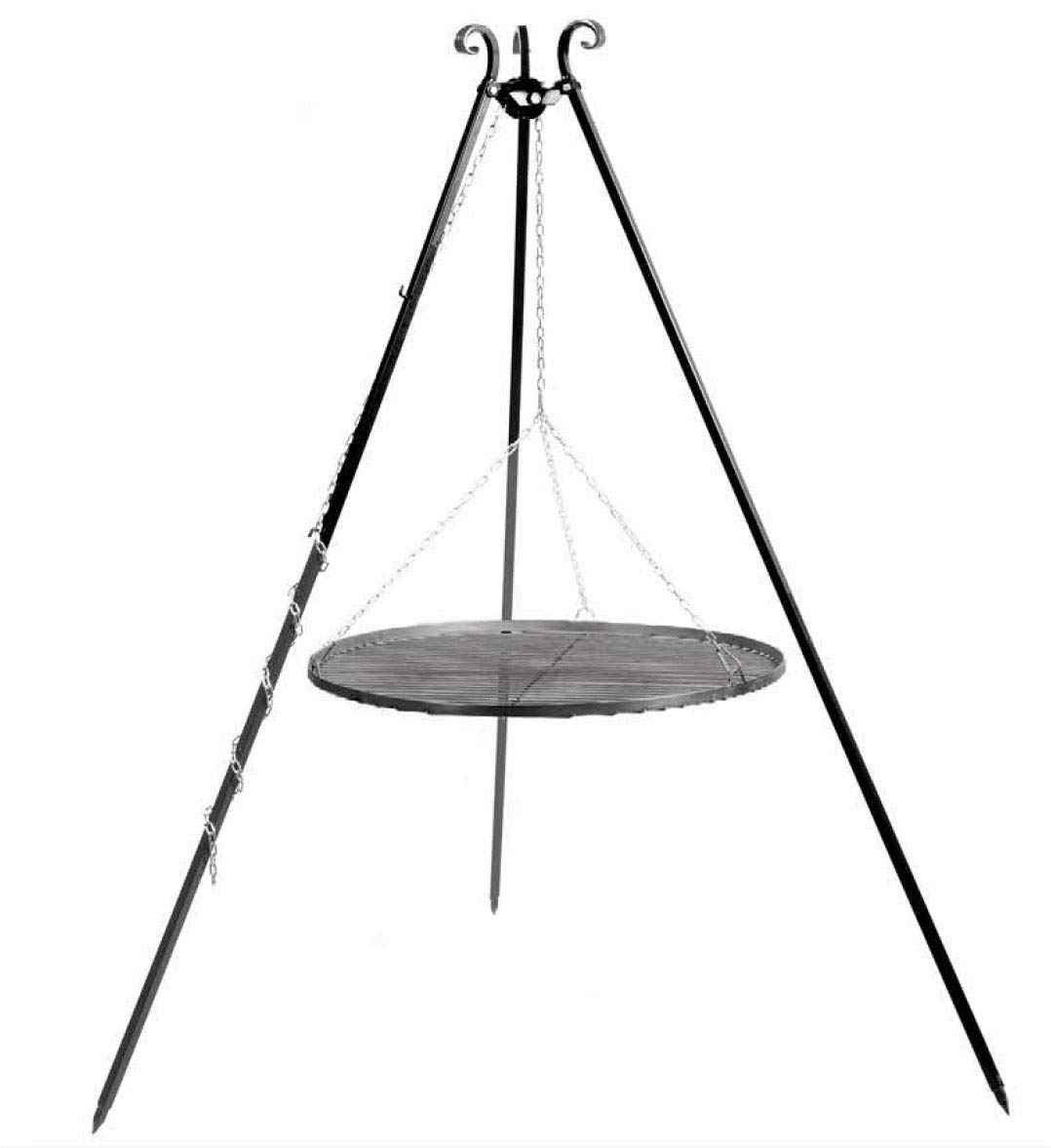 Lomia 180cm Heavy Duty Tripod with chain pulley and black steel grate for Fire Pit Fire bowl and Out door BBQ Cook King