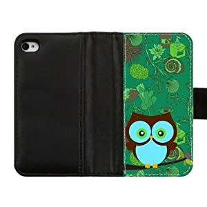 Lovely Durable Owls pattren Wallet Custom Diary Leather Case Cover for iPhone4 iPhone4S by supermalls