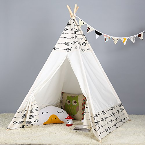 Steegic Portable Kids Cotton Canvas Teepee Indian Play Tent Playhouse - Frontier Design]()