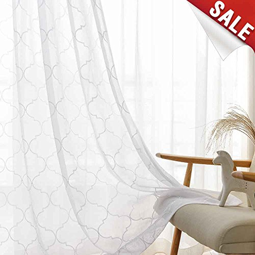 Moroccan Lattice (White Sheer Curtains for Living Room Curtain Moroccan Tile Embroidered Window Curtains Lattice Geometric Quatrefoil Embroidery Semi Sheer Curtains for Bedroom, 2 Panels, 55 x 95 Inch)